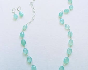 Chalcedony necklace wrapped with Sterling silver
