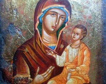 Orthodox icon A Hodegetria. The Virgin Mary with the Child.  Virgin Hodegetria. Handpainted icon. Made To Order