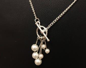 Lariat Faux Pearl Pendant