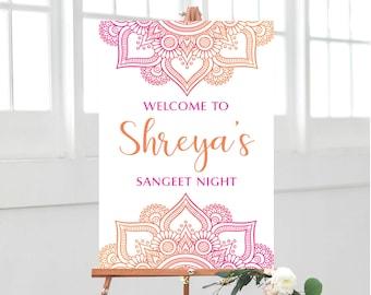 6281fd134d3cd Mandala Welcome Sign - Pink and Orange Mandala - Party Decor - Sangeet -  Mehndi - Welcome - Bridal Shower - Party Sign - PDF - JPG