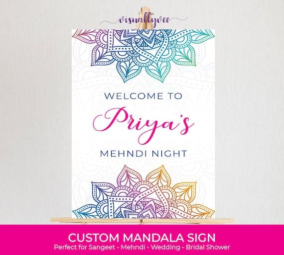 Mandala Welcome Sign , Watercolor Mandala , Party Decor , Sangeet , Mehndi  , Welcome , Bridal Shower , Party Sign , Rainbow , PDF , JPG
