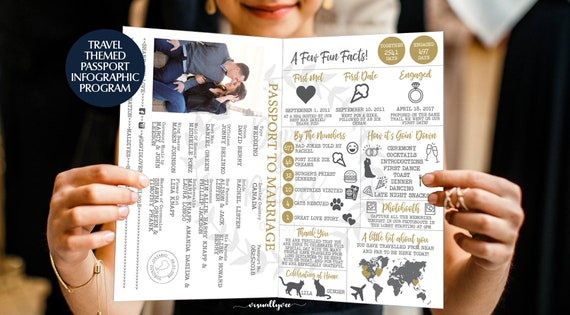 Passport Infographic Wedding Program Travel Theme