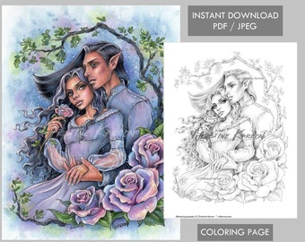 Couple Coloring Page Etsy