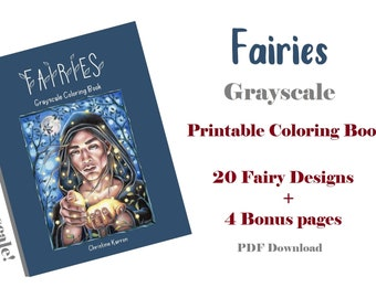Fairies Grayscale Coloring Book PDF Instant Download Printable Files