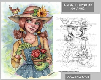 Garden Friends Coloring Page Grayscale Woman Hat Flowers illustration Instant Download Printable File (JPEG and PDF) Christine Karron