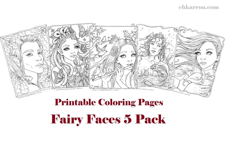 Set of 5 coloring pages  Fairy Faces 5 Pack Instant Download image 0