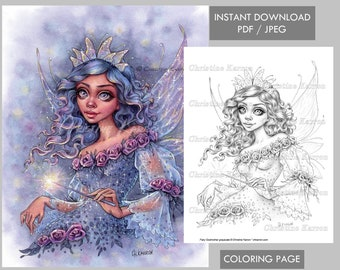 Fairy Godmother - Coloring Page Grayscale fae fantasy roses portrait Instant Download Printable File (JPEG and PDF) Christine Karron