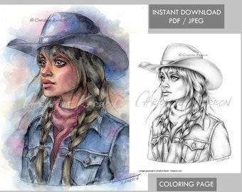 Cowgirl Coloring Page GRAYSCALE Western Farm Girl Woman Hat illustration Instant Download Printable File (JPEG and PDF) Christine Karron