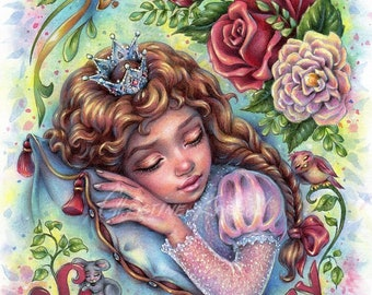 Sleeping Beauty, Original Watercolor and Colored Pencil Illustration, 9 x 12 inches, Drawing Painting by Christine Karron