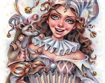 Jester, Original Watercolor and Colored Pencil Illustration, 9 x 12 inches, Drawing Painting by Christine Karron