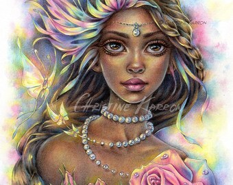Pearls Of Life, Original Watercolor and Colored Pencil Illustration, 9 x 12 inches, Fairy Drawing Painting by Christine Karron