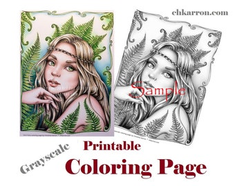 Fairies Grayscale Coloring Book PDF Instant Download Printable