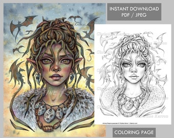 Among Dragons Coloring Page GRAYSCALE elf female fairy fae illustration Instant Download Printable File (JPEG and PDF) Christine Karron