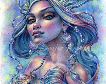 Queen Of The Seven Seas, Original Watercolor and Colored Pencil Illustration, 9 x 12 inches, Mermaid Drawing Painting by Christine Karron
