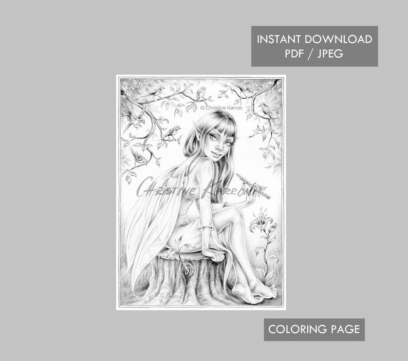 Fairy Coloring Page Grayscale Instant Download Printable File JPEG and PDF The Magic Flute