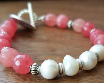 Coral stone and Fresh Water Pearl Bracelet with silver charm