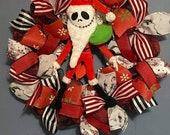 Halloween santa jack skellington wreath.