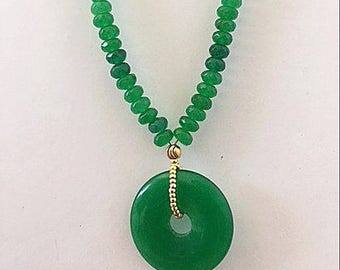 Green Rondelle Beaded Necklace Statement Necklace Pendant Necklace Boho Necklace Long Necklace Handmade Jewelry Gift For Her