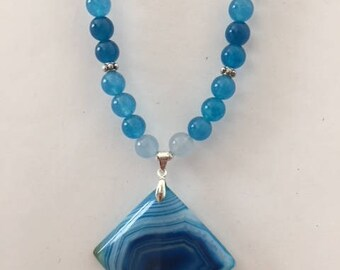 Teal Apatite Beaded Necklace