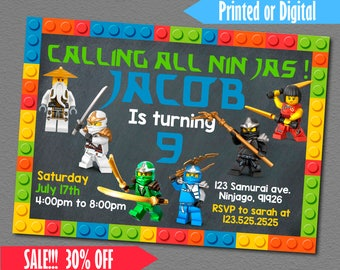 Lego Ninjago Printed Invitation, Lego Ninjago Birthday Invitation, Lego Ninjago Invitation, Lego Ninjago Invite, Lego Ninjago Birthday
