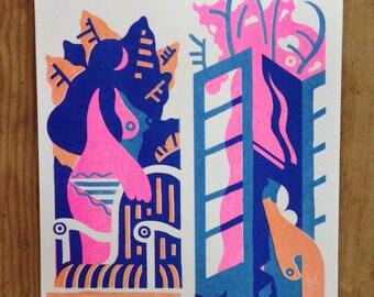 Two Women (Three-Color Risograph 11 x 17)