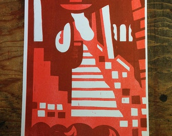 Woman Ascends the Stairs (Two-Color Risograph 11x17)