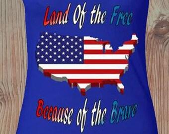 26e3a10cb18a1 July 4th Womens Shirt USA Flag Map Land Of The Free Racerback Tank July 4th  Racerback Tank Top Custom Patriotic Racerback Tanktop For Women