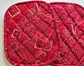 Quilted Pot Holder Deluxe Hot Pad COYOTE COWBOY ON RED