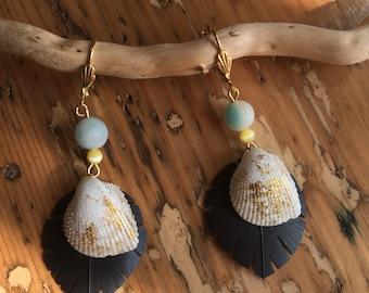Seashell room air and Amazonite earrings