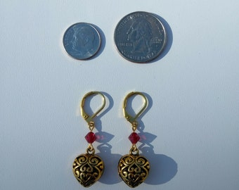 Gold Plated Red Crystal Heart Earrings