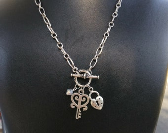 Key and Lock necklace silver plated
