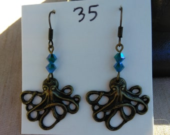 Brass Octopus Squid Craken Earring