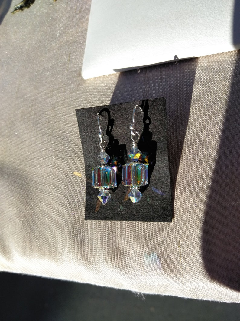 50dd7f2dc2af0 Crystal Cube Earrings Aurora Borealis Sterling Silver
