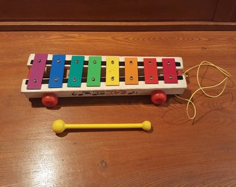 Vintage Fisher Price Pull-A-Tune Xylophone - Pull Toy - #870