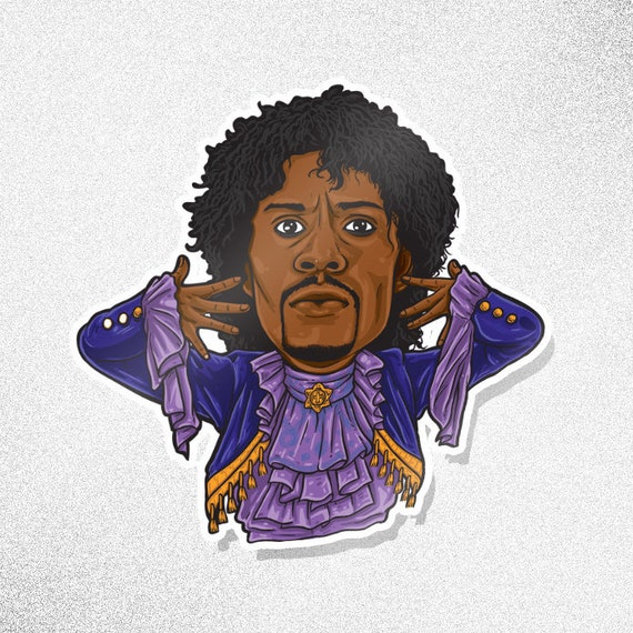 prince from chappelle s show sticker game etsy prince from chappelle s show sticker game blouses tv caricature series dave chappelle prince pancakes purple rain tv show funny