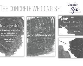 Printable Industrial Style Wedding Invitation & RSVP Set