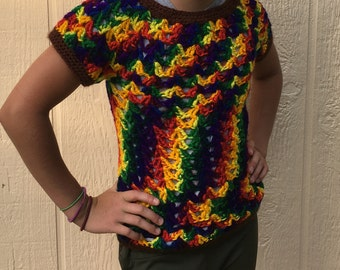 94d2e4118c6341 Girls Crocheted Rainbow Sweater Short Sleeved