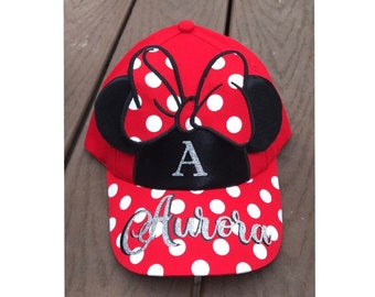 c284d7d3f78 Personalized Disney Minnie Mouse Ears Hat   Girls Disney Hat   Girls Minnie  Hat   Family Disney Trip   Minnie Mouse Party   Mickey Mouse Ear