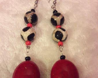 Debb-Bee's #33 Red Cow Pattern Earrings