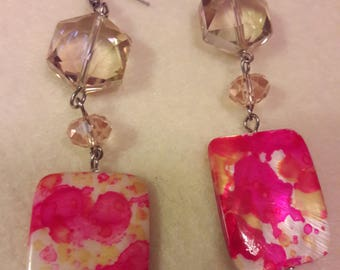Debb-Bee's #108 Pink Dangle Earrings