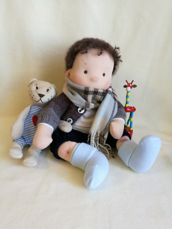 Waldorf doll boy with a set of clothes