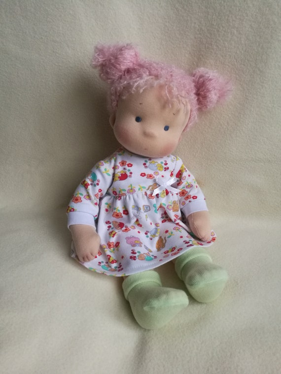 Waldorf Doll 15 Inch Textile Doll For Girl Doll With Pink Hair
