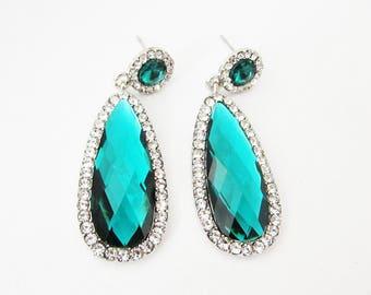 Long Green Earrings, Green Earrings, Green Crystal Earrings, Green Wedding Jewellery, Green Wedding Earrings, Jewellery for Bridesmaids