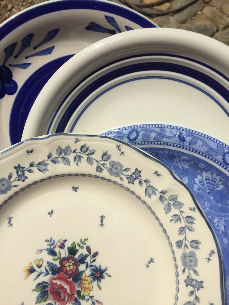 Set of 4 Vintage Mismatched China Ironstone Salad Plates Beautiful Blue # 91