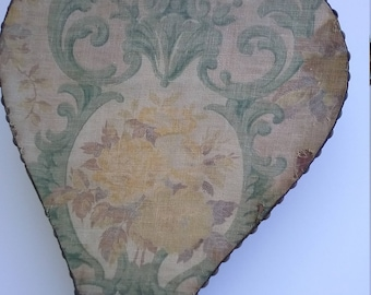 Fireplace bellows tapestry covered very old