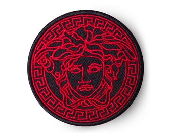 2e6cc415 Versace patch Black Red Medusa Sew On Patch Brand patch Ready to delivery,  with tracking