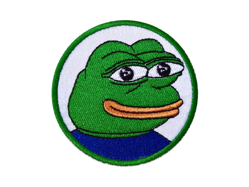 Pepe The Frog Smile Pepe Patch Sew On Emroidered Patch Green Etsy
