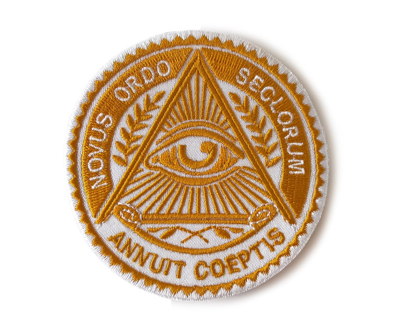 1 Day Illuminati Freemasonry Symbols Eye Secret Society Sew On Patch  Embroidered Golden