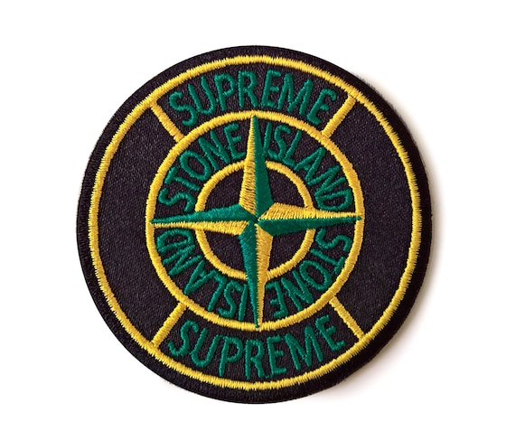 stone island and supreme collaboration patch badge classic | etsy