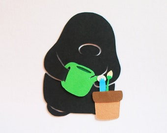 Watering the plant, A5 Paper Cut